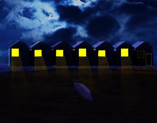 the  Beach Huts at night
