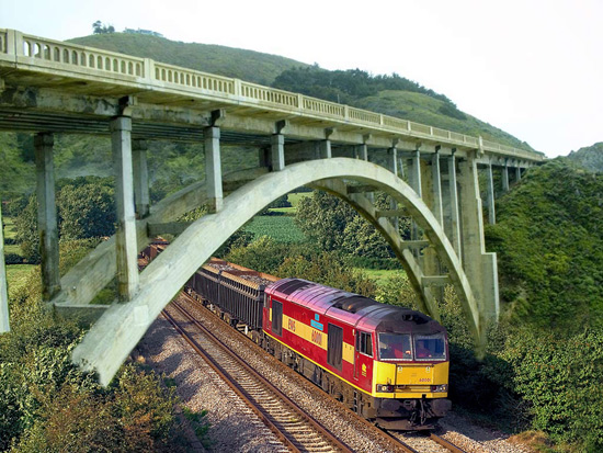 Train under bridge